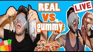 (LIVE!) REAL VS GUMMY FOOD CHALLENGE | EXTREME BLINDFOLDED EDITION (GONE WRONG PUKING WARNING!)