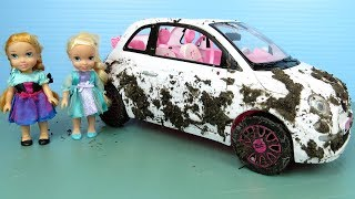 Muddy Car ! Elsa And Anna Toddlers Wash Barbie's Cars