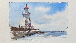 Draw and Paint a Lighthouse in Watercolor. Great for beginners using just 3 color.Peter Sheeler