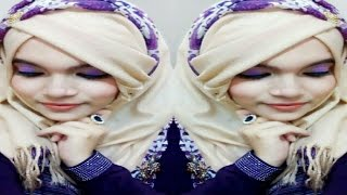 Party hijab tutorial with full front & back coverage part 1||Farzana Alin||