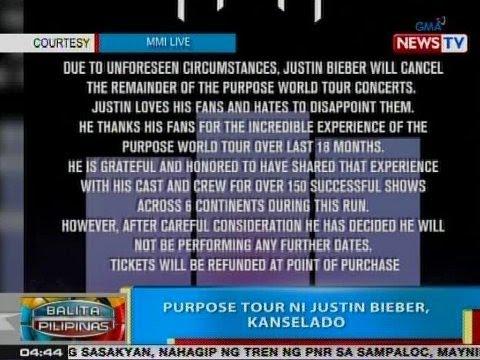 BP: 'Purpose Tour' ni Justin Bieber, kinansela