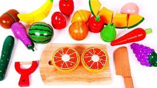 Cutting Fruits and Veggies Learn Colors with Toys for Children