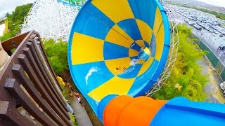 [4k] The Tornado - Six Flags Hurricane Harbor (Los Angeles, California)