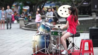 Cute girl playing Drum cover so hot   My Oh My