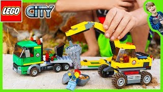 Lego City Excavator Transport Truck - Time Lapse Build and Pretend Play