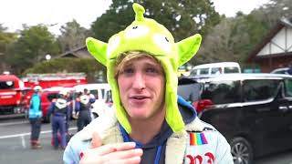 Logan Paul and his friends laughing and smiling after discovering a dead body