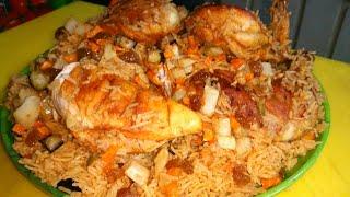 Arabian dish fried chicken maqlooba  (full recipe)