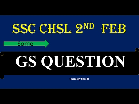 SSC CHSL Tier 1 GA (GS)  Questions 2 feb 2017  in hindi