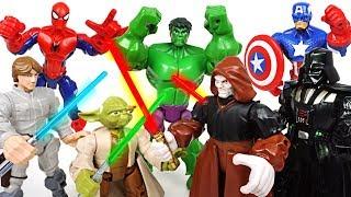 Star Wars Jedi Yoda and Darth Vader clash! Marvel Avengers Hulk, Spider Man combine! - DuDuPopTOY