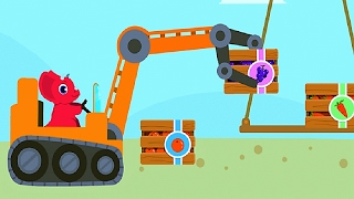 Baby Dinosaur Digger, Learn and Play Powerful Machines, Excavator Fun Game For Kids