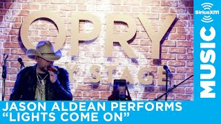 Jason Aldean performs Lights Come On at Opry City Stage in Times Square, New York City