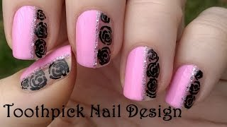 TOOTHPICK NAIL ART Baby Pink & Black Roses Nails