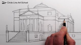 How to Draw a Villa in 1-Point Perspective: Fast Version