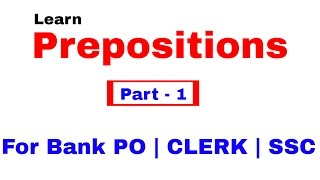 Prepositions in English Grammar For Bank PO | Clerk | SSC  [In Hindi] Part 1