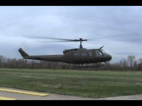 UH 1H Huey startup and flyby