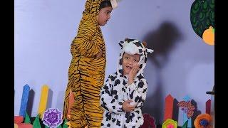 Daiwik as Punyakoti, Kannada Folk Song [Little Elly Bellandur, LKG kids performing skit on stage]