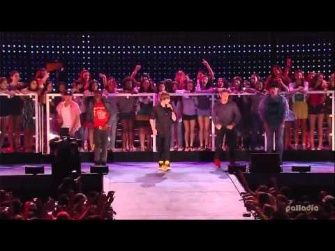 (HD) Justin Bieber - Baby live pepsi  Super Bowl with lyrics (cc)