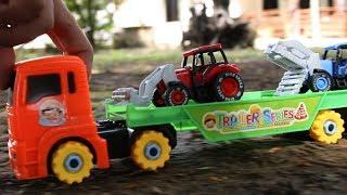 รถของเล่นจิ๋ว รถแทรกเตอร์ไถ่นา รถไถ่นา รถเกี่ยวข้าว รถบรรทุกฟางข้าว Tracktor and Plow
