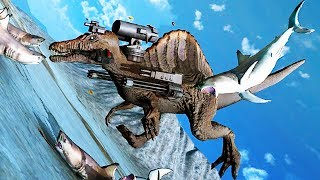FLYING SHARKS and GIANT SNAKES Attack WEAPONIZED SPINOSAURS! - Beast Battle Simulator Gameplay