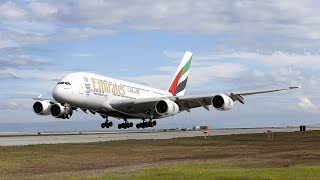Emirates Airbus A380 landing at Mangalore International Airport for the first time