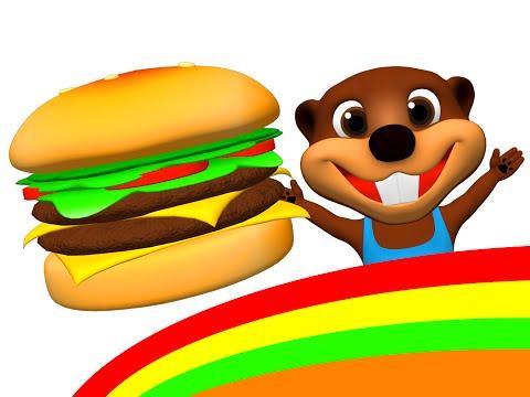 Happy Hamburger I m Happy Song & More Kids Make a Burger & Hot Dog ESL Feelings & Food Songs
