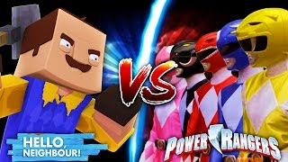 Minecraft POWER RANGERS VS HELLO NEIGHBOUR - LITTLE CARLY BECOMES THE PINK POWER RANGER !!