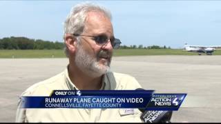 Runaway plane caught on video