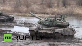 Russia: Armed forces train T-90 tank crew in speed, manoeuvring and cannon fire