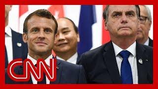 French President Emmanuel Macron slams Brazil's president over Amazon fires