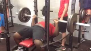 CJ Wright 225lb rep test! 400lb 1rep bench max! 590lb squat 325lb power clean!
