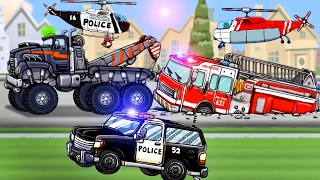 Trucks Cartoon for Children : Tow Truck, Police Car, Fire Truck  Service Vehicles - Diggers for Kids