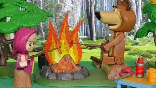 Bajka Masza i Niedźwiedź po polsku - Masza z Niedźwiedziem rozpalają w lesie ognisko