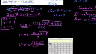 Trig 6.1.6,  Solving trig equations using the Quadratic Formula