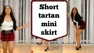 Crossdresser - very short tartan mini skirt and black stiletto peeptoes | NatCrys