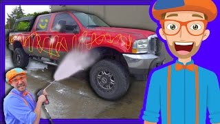 Blippi Car Wash | Truck Videos for Children