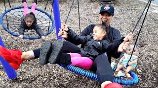 Fun Outdoor Playground for kids / Imani Plays on Swing / Family Fun Playtime