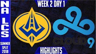 GGS vs C9 HIGHLIGHTS | NA LCS SUMMER 2018 Week 2 Day 1 | Golden Guardians vs Cloud 9