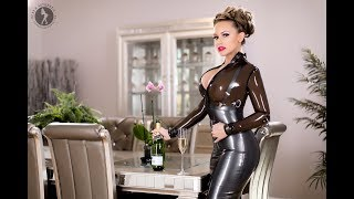 Time for Celebrating, Carrie LaChance in Westward Bound's Dom Élégance Latex Clothing Collection