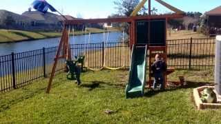 The boy's get to see their new swing set I built.