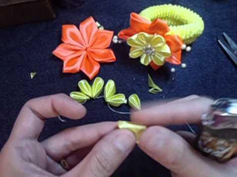 Flor de fita para xuxinha ribbon flower