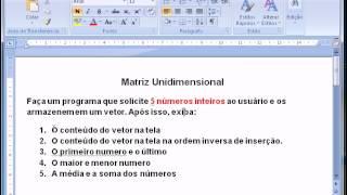 Programação C - Aula 09 - Vetor (Matriz unidimensional)