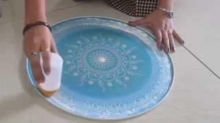 Rangoli design making with stencil - part 2