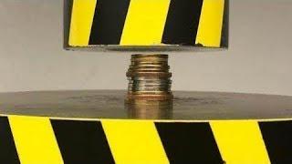 EXPERIMENT HYDRAULIC PRESS 100 TON vs Coins