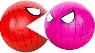 Cartoons for kids 3D Pacman Suprise Eggs Spiderman eating ICE CREAM Learning Colors