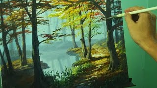 Acrylic Painting lesson - Autumn in Forest by JM Lisondra