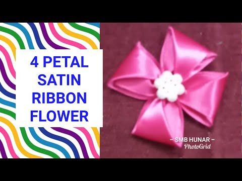 Xxx Mp4 4 Petal Satin Ribbon Flower With Beads Center Piece 3gp Sex