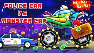 Police Car VS Scary Monster Car | Monster Truck Series | Real City Heroes For Kids