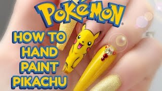 HOW TO: HAND PAINT EASY PIKACHU   POKEMON NAILS   step by step