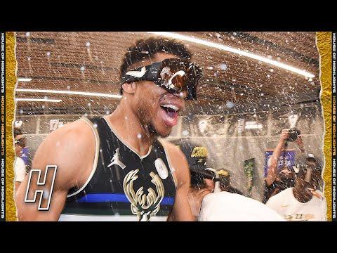Milwaukee Bucks Locker Room Celebration 2021 NBA Champions