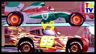 Disney Pixar Cars 2 Screen Race Neon McQueen vs Francesco   Cars Fast as Lightning